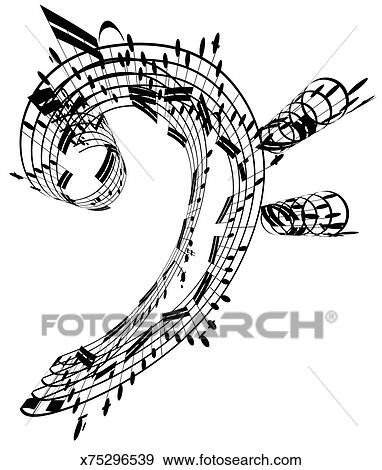 Bass clef made of music notes stock illustration for Note musicali dwg