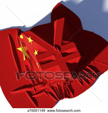 Stock Illustration Of Cinese Flag Laying Over Renminbi Currency