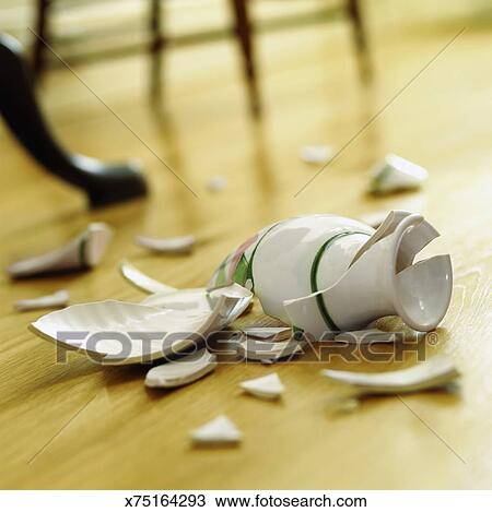 Stock Photo Of Broken Vase On A Wooden Floor X75164293 Search