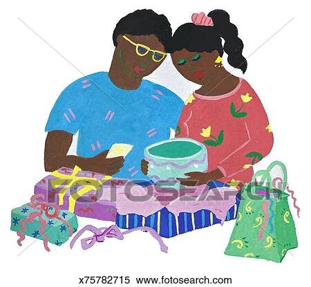 stock illustration of opening wedding gifts x75782715 search