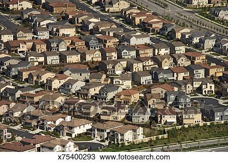 aerial view of suburban community in california