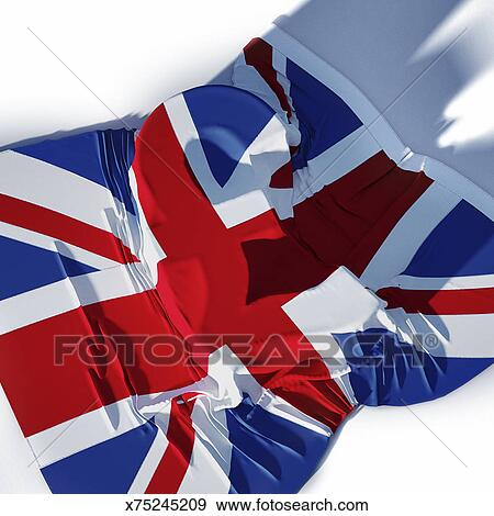Stock Illustration Of Uk Flag Laying Over Uk Pound Currency Symbol