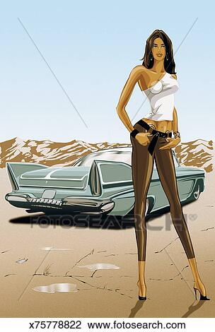 Clip Art of Portrait of a Stylish Young Woman Standing in a Desert ...