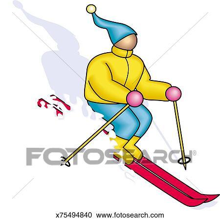 人 スキー クリップアート切り張りイラスト絵画集 X75494840