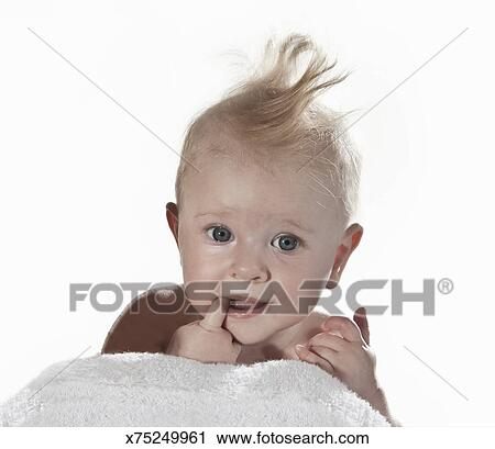 Portrait Of 6 Month Old Baby Girl Stock Photography X75249961