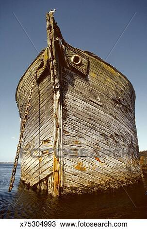Bow Of An Old Wooden Sailing Ship At Anchor Stock Image