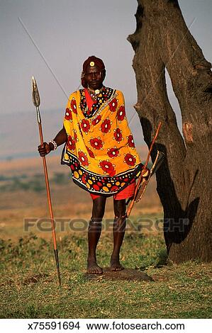 Maasai warrior with spear Picture