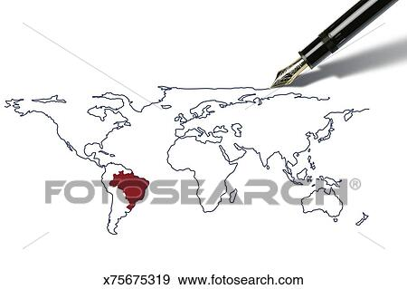Stock illustration of pen draws a worldmap with brazil highlighted pen draws a worldmap with brazil highlighted gumiabroncs Images