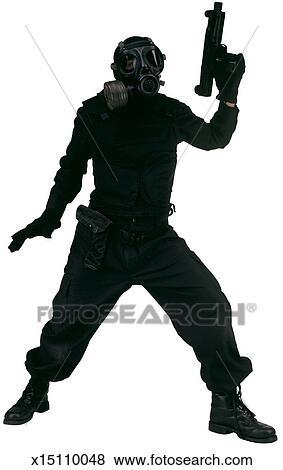 Bilder - person, in, voll, schwarze kleidung, tragen, a, gasmaske ...