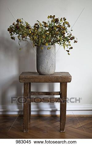 Stock Image Of A Stone Vase Full Of Dead Flowers 983045 Search