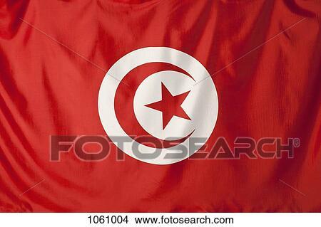 Bandiera Tunisia Mezzaluna Rossa Luna E Stella Rossa Forma In