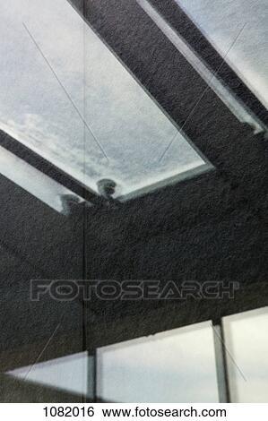 ストックイメージ , 建物, 天井, そして, 天窓, 現場, 中に, a, 反射
