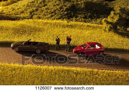Picture Of Diorama Of A Toy Car Crash 1126007 Search Stock