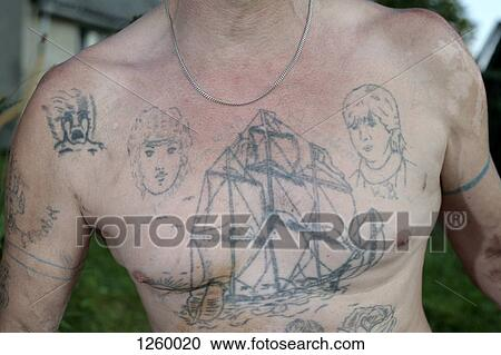 Stock photography of a mature man 39 s chest with faded for Chest mural tattoos