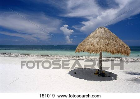 Beach Scene With Thatched Umbrella Yucatan Mexico