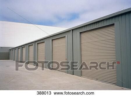Stock Photo Of Warehouse With Rolling Garage Doors 388013 Search