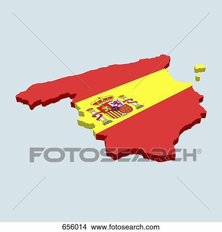 De Spaanse Vlag In De Vorm Van Spanje Stock Illustraties 656014 Fotosearch
