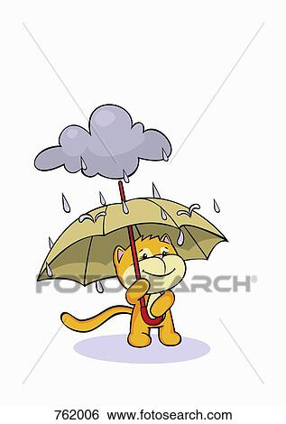 A Dessin Animé Chat Tenir Parapluie Pluie Banque Dillustrations