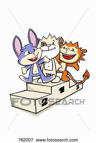 Banque d 39 illustrations trois dessin anim caract res - Dessin podium ...