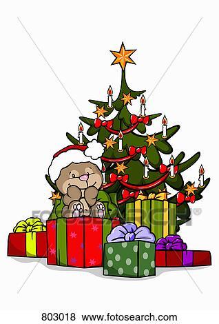 Clipart Weihnachtsgeschenke.A Bär Mit A Weihnachtsbaum Und Weihnachtsgeschenke Clip Art