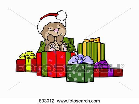 Weihnachtsgeschenke Clipart.A Bär Mit Weihnachtsgeschenke Clipart