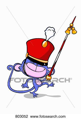 clipart of a monkey drum major with a twirling baton 803052 search rh fotosearch com  marching band drum major clipart