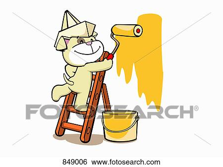 Clip Art of A cartoon dog painting a wall yellow 849006 - Search ...