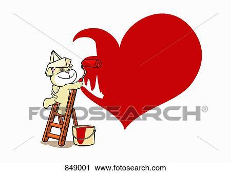 Clipart  A Dessin Anim Chien Peinture A Coeur Rouge Sur A