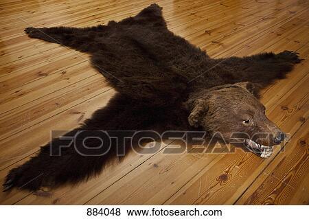 a tapis peau ours sur bois planches - Tapis Peau