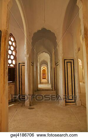 Stock Images Of Arched Columns Inside A Palace City Palace Jaipur