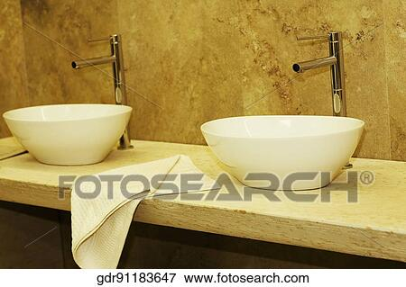 Wash Bowls In The Bathroom Stock Photo