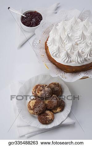 Colección de foto - primer plano, de, galletas, con, un, merengue ...
