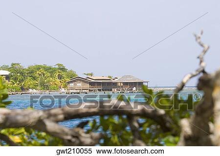 Beach Huts On The Dixon Cove Roatan Bay Islands Honduras