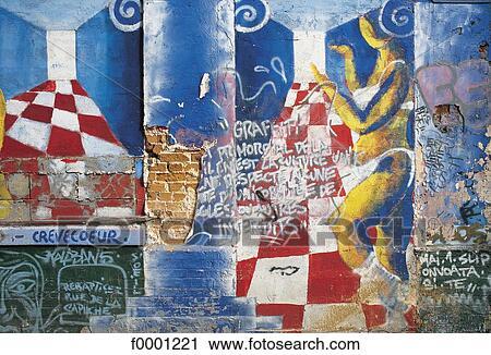 Fissure Mur Peinture Graffiti Peinture Extérieur Plein Air Banque D Image