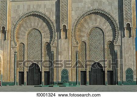 Islamic art door Islam Morocco Northern Africa Casablanca Hassan II Mosque & Stock Photo of islamic art door Islam Morocco Northern Africa ...