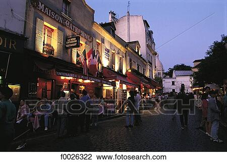 Stock Photo Of France Paris Restaurants In A Street Of Montmartre