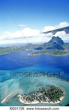 French Polynesia Bora Bora Island Aerial View Stock