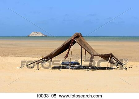 stock image of morocco dakhla berber tent and ile du dragon in the