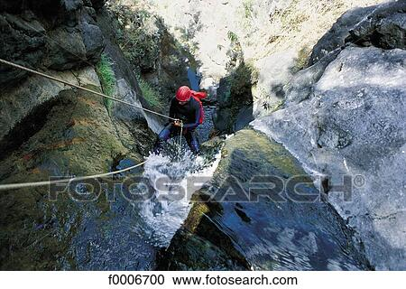 Stock Photography Of Reunion Canyoning In The Cilaos Cirque
