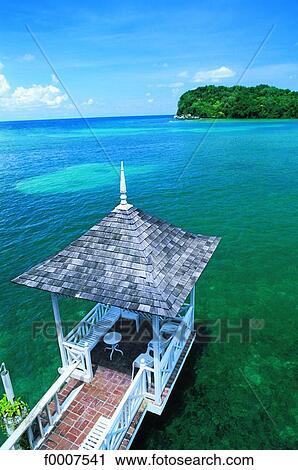 Jamaica Port Antonio Small Bridge Over Blue Lagoon Stock