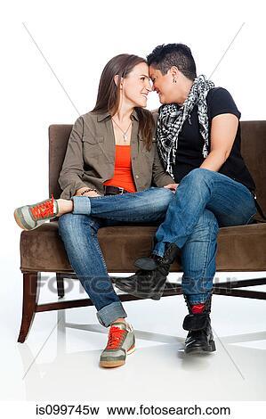 Couple lesbienne noir et blanc