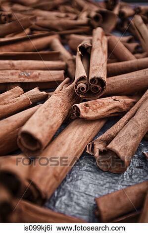 stock photo of cinnamon sticks at roseau market dominica lesser