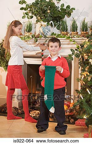 Children with christmas stockings Picture