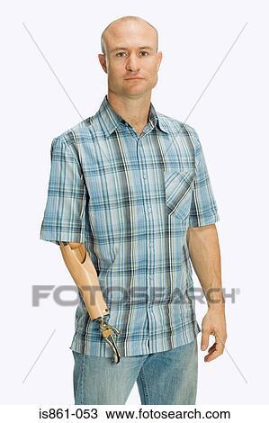 Mann, mit, ein, künstliches glied Stock Bild   is861-053