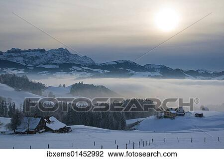 Evening In The Appenzell Region With A View On Mt Saentis