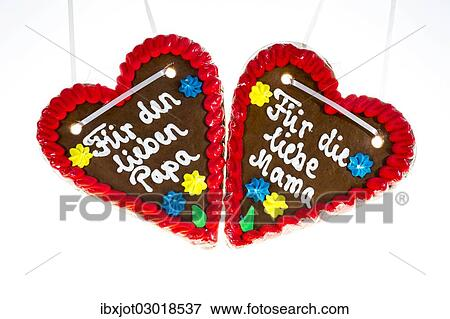 Gingerbread Hearts With The Writing Fuer Den Lieben Papa And Fuer Die Liebe Mama German For To Dear Dad And To Dear