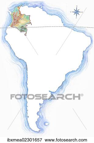 America Map With Compass.Picture Of Highly Detailed Hand Drawn Map Of Colombia Within The
