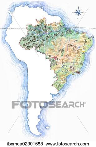 America Map With Compass.Pictures Of Highly Detailed Hand Drawn Map Of Brazil Within The