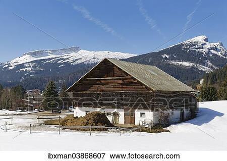 Picture Of Old Farmhouse In Riezlern Mountains Hoher Ifen And