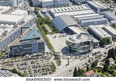 Stock Photography Aerial View Corporate Headquarters Of Audi Ag At The Main Plant